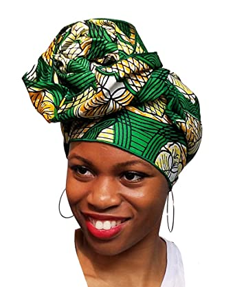 "African Traditional Wax Print Head Wraps 68""x21"" ..."