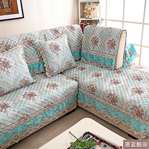 European-style sofa mat fabric non-slip simple modern four seasons universal custom-made leather sofa set towel lace package-F 98x210cm(39x83inch) (559 Sofa)
