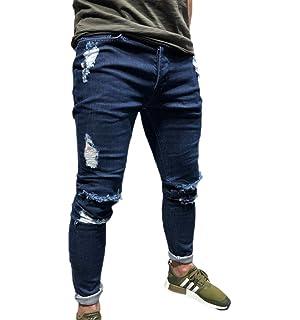 844597f1f19 Huateng Men's Skinny Jeans Black Hole Badge Stickers Small Feet ...