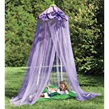 Secret Garden Hideaway Bed Canopy Hanging Play Tent for Kids Bedroom, 7' H with 12' Bottom Circumference - Purple