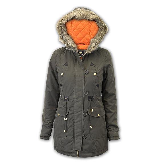 2cdbc248559 Ladies' Brave Soul Jacket CLAUDIA Khaki UK 12: Amazon.co.uk: Clothing