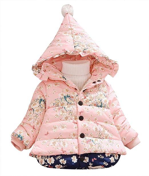 Happy cherry - Abrigos - Parka - para bebé niña Rosa rosa 73 cm (1