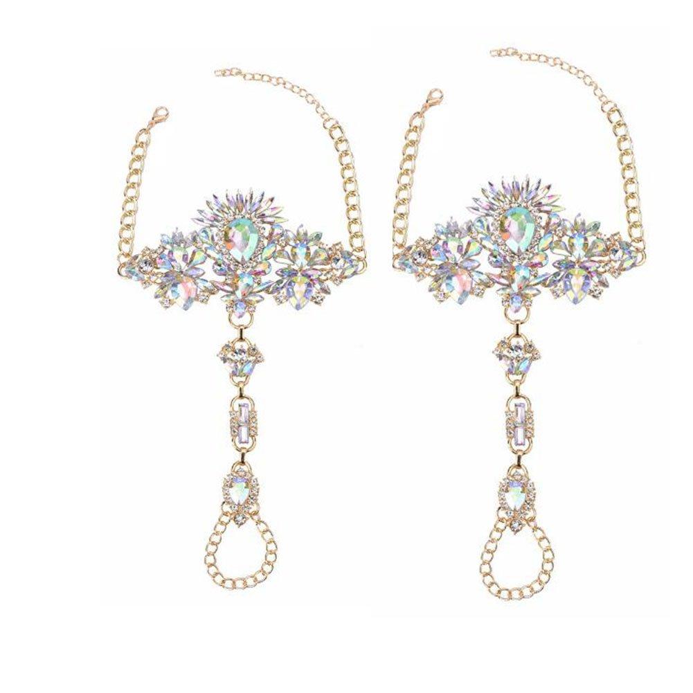 NABROJ Women Crystal Foot Jewelry, Anklet Bracelet Jewel Sandals Women Foot Chain 1 Pair Gift Box-JL01 Crystal