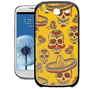 Bumper Phone Case For Samsung Galaxy S3 - Mexican Sugar Skulls in Gold Rubber TPU