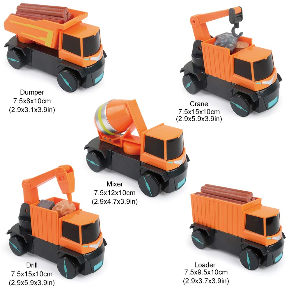 LBLA 5-in-1 Construction Truck Toys for Kids Boys Magnetic Vehicles Assembly Playset Learning Toys for Toddlers