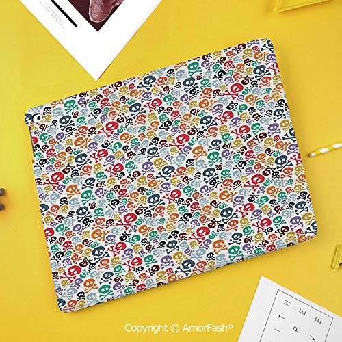 PU Flip Case for Samsung Galaxy Smart TAB S4 10.5 2018 T830 T835 Cover,Skulls Decorations,Halloween Theme Colorful Skulls and Crossbones]()
