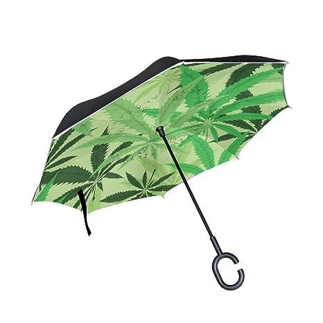 COOSUN Hoja de Cannabis marihuana Hojas de doble capa del paraguas invertido inversa para el coche