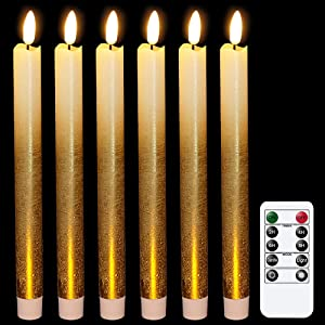 Wondise Flameless Taper Candles Flickering with Remote and Timer, Battery Operated 9 Inch Gold LED Taper Window Candles, for Dinning Wedding Christmas Decor, Set of 6(0.78 x 9.64 Inches)