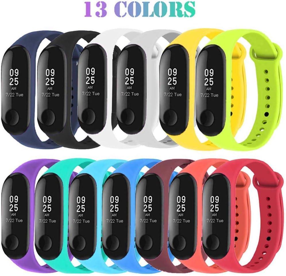 Correas de Relojes, Hanyixue 13 Piezas Correas para Xiaomi Mi Band 3 4 Pulsera Reloj Silicona Banda para Mijia Mi Band 3/4-13 Colores