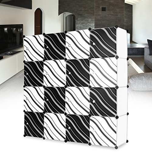 LANGRIA 16 Cubby Shelving Plastic Storage Cubes Drawer Unit Organizer, DIY Modular Bookcase Closet System Cabinet with Translucent Zebra Striped Doors Design for Clothes, Shoes, Toys (White and Black) (Modular Closets)
