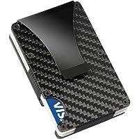 Cartera de metal Wildeal, para tarjetas de crédito, fina, de fibra de carbono, RFID, no escanear, Carbon fiber