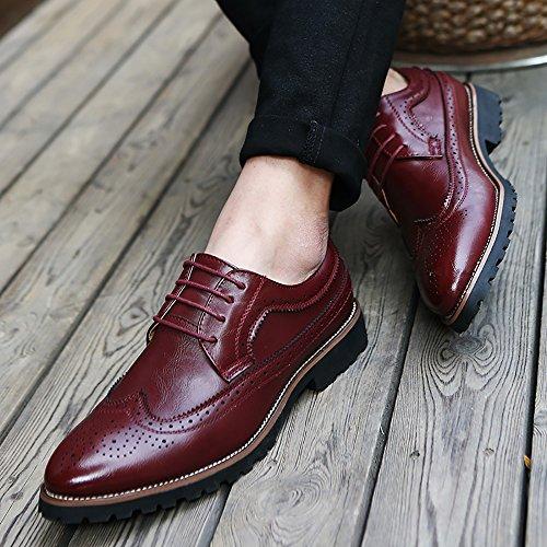 Yzhyxs Brogue Hommes Robe Chaussures Lacets En Cuir De Vache Véritable Oxfords Travail Travail Chaussures Vin Rouge