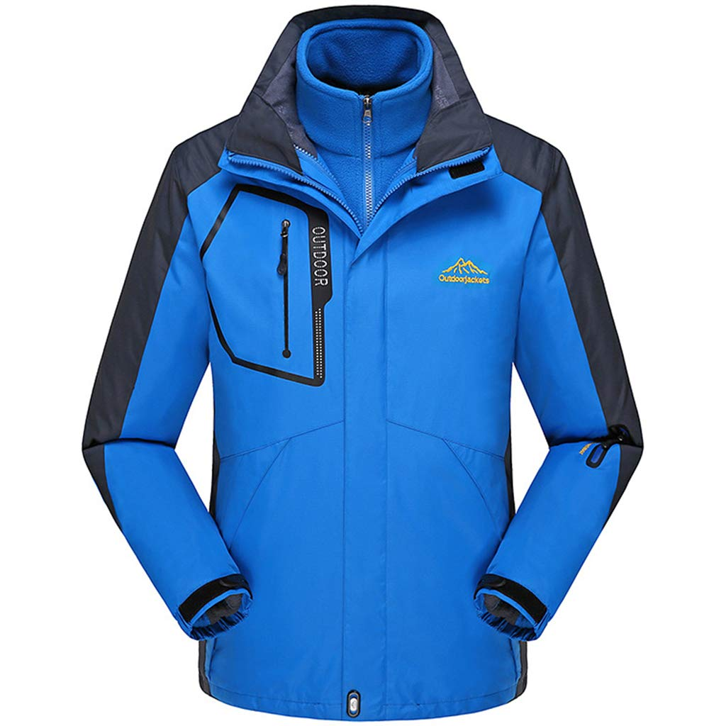 Mens wasserdichter 3-in-1Softshell Jacke Außen Leichte Jacke atmungsaktiv Wandern Jacke Regen Mantel mit Ski Klettern Kleidung Hood