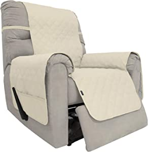 Easy-Going Sofa Slipcover Waterproof Recliner Chair Cover Non-Slip Fabric Couch Cover for Living Room Washable Furniture Protector for Pets Kids Children Dog Cat (Recliner,Ivory)