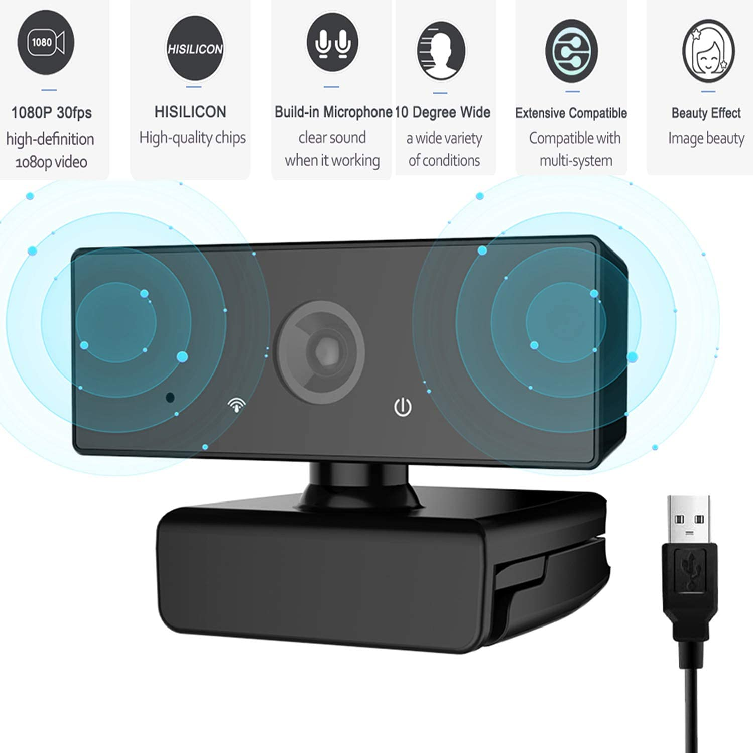 XCH Robots Streaming Webcam with Microphone for HD 1080p, Desktop with Built-in Microphone, Widescreen Video Calling and Recording, Desktop Or Laptop Notebook Webcam (B60)