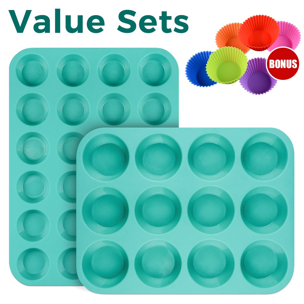 Silicone Muffin Cupcake Pan Set - Mini 24 Cups and Regular 12 Cups Muffin Tin, Nonstick BPA Free Best Food Grade Silicone Molds with Bonus 12 Silicone Baking Cups by Silikolove (Image #2)
