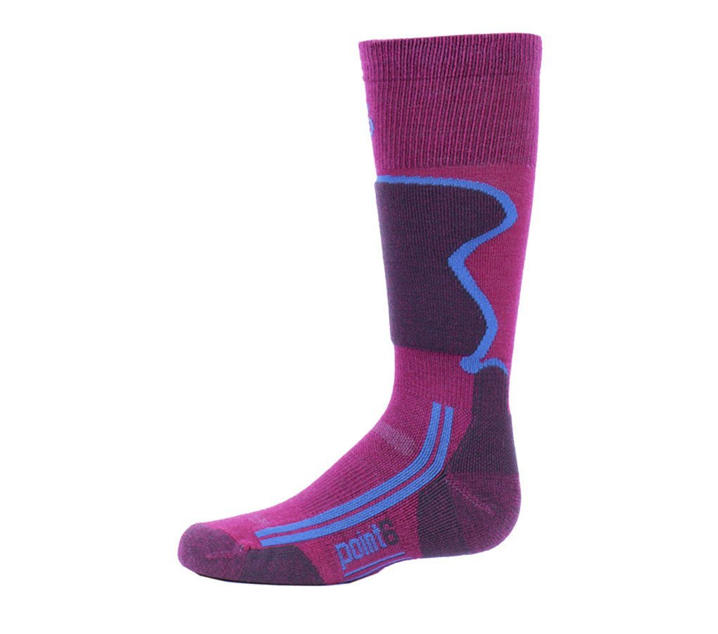 Point6 Kids Ski, Light OTC sock - Small, Lipstick with a Helicase sock ring
