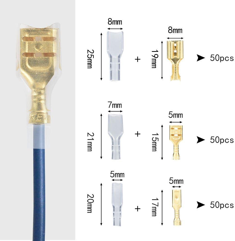 2.8/MM 4,8/mm 6,3/mm 150/pi/èces femelle Spade Crimp terminal connecteur de c/âble avec manchon isolant Assortiment kit