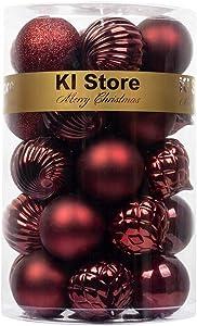 KI Store Christmas Balls Burgundy Shatterproof Christmas Tree Ball Ornaments Decorations 2.36-Inch Set of 34 for Xmas Trees Wedding Party Home Decor