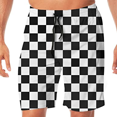 958c475135 Amazon.com: Checkerboard Black and White Men's Swim Trunks Quick Dry Board  Shorts Bathing Suits Swimwear Volley Beach Trunks: Clothing