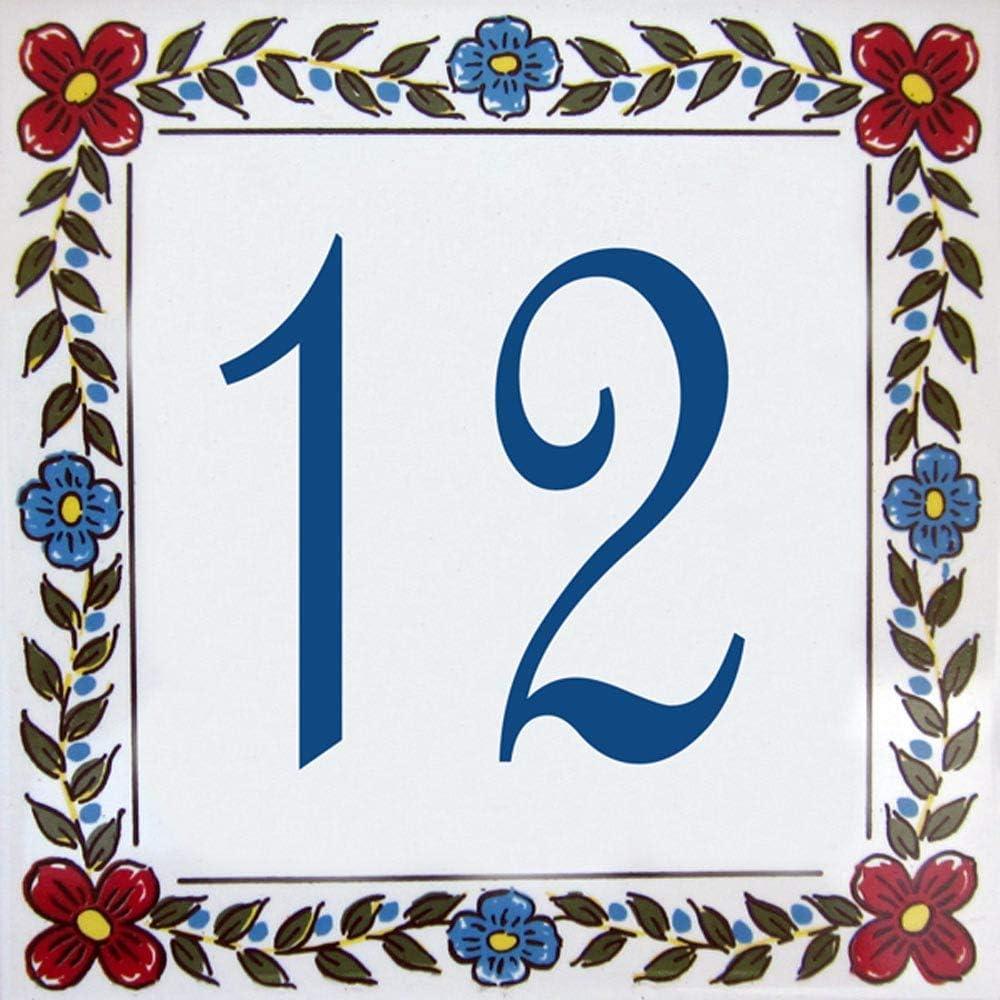 Azulejo de barro 10x10 Placa con n/úmero de casa y nombre de la calle personalizable 15x15 ou 20x20cm