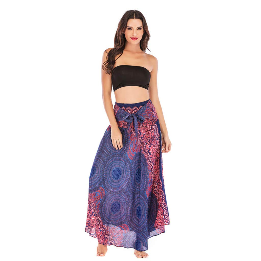 Tantisy ♣↭♣ Women's High-Waisted Boho Asymmetrical Hem Tie up Long Maxi Print Wrap Skirt Ladies Flowy Chiffon Beach Skirts Purple