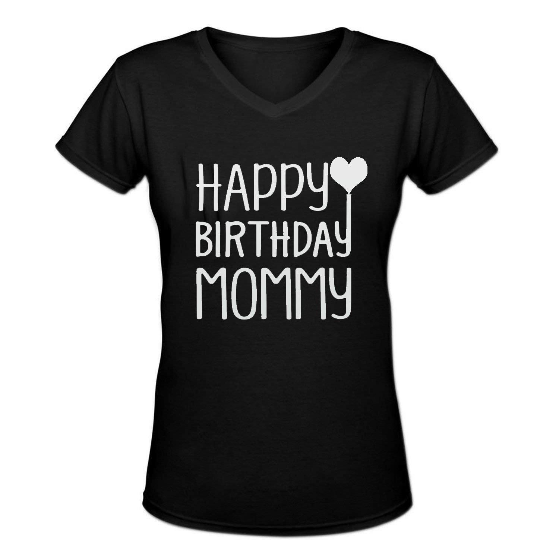 Amazon Happy Birthday Mommy Mens Cotton V Neck T Shirt Black Clothing