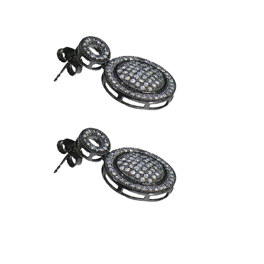 SIVALYA LIGHT UP THE SKY micro-pave CZ Women's Earrings in 925 Sterling Silver, Black Rhodium Plated, Exquisite design in Solid Silver, Great Gift for Her