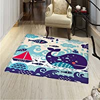 Purple Area Rug Marine Traffic Whale Sailboat Fish Cloud Waves Nautical Life Print Indoor/Outdoor Area Rug 2x3 Purple
