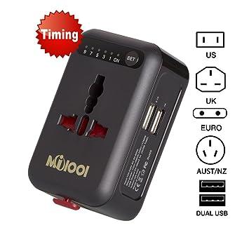Milool Adaptador Enchufe,Universal Cargador Enchufe de Pared Temporizador de Viaje Internacional con Dos Puertos USB Funciona en Todo el Mundo para US ...