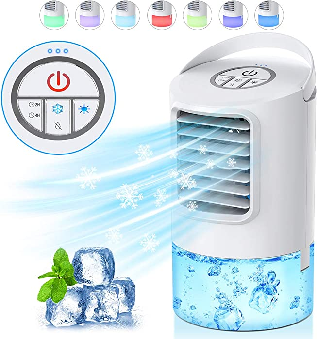 HAUEA Personal Air Cooler, Portable Air Conditioner,Desktop Cooling Fan, Mini Space Evaporative Air Cooler with with 7 Colors LED Lights, Timer, Handle, 3 Speeds for Home, Office, Room