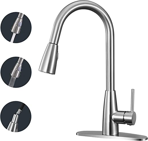 ANZA Kitchen Faucet Single Handle High Arc Faucet with Pull Down Sprayer,  Modern Commercial Dual Function Kitchen Sink Faucet with 2 Spray Modes,  360° ...