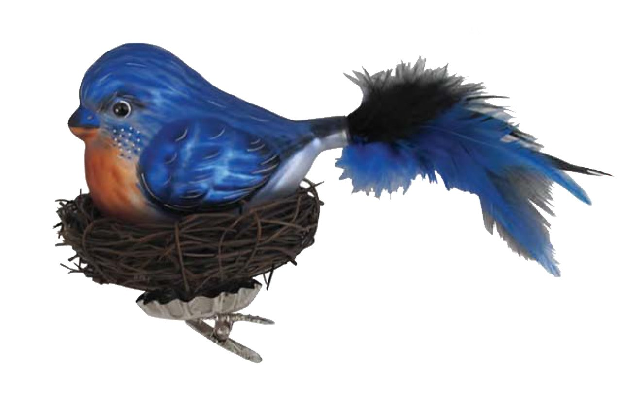 Christmas Blue Bird with Twig Nest Clip