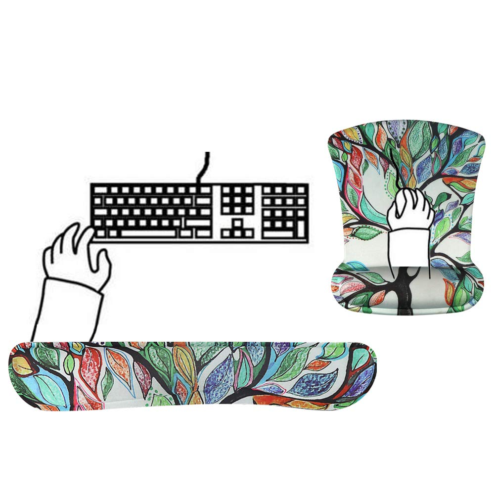 Office Home Mechanical Keyboard Use Keyboard and Mouse Wrist Rest Pad, Grey Tree iCasso Memory Foam Keyboard Wrist Rest Pad and Mouse Wrist Rest Pad Set Comfortable and Pain Relief for Typing and Gaming