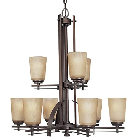 Progress Lighting P4214-88 9-Light Two-Tier Riverside Chandelier, Heirloom