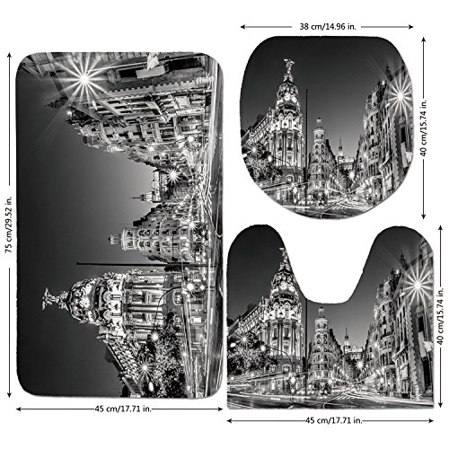 3 Piece Bathroom Mat Set,Black-and-White-Decorations,Madrid-City-Night-Spain-Main-Street-Ancient-Architecture-Decorative,Grey.jpg,Bath Mat,Bathroom Carpet Rug,Non-Slip by iPrint