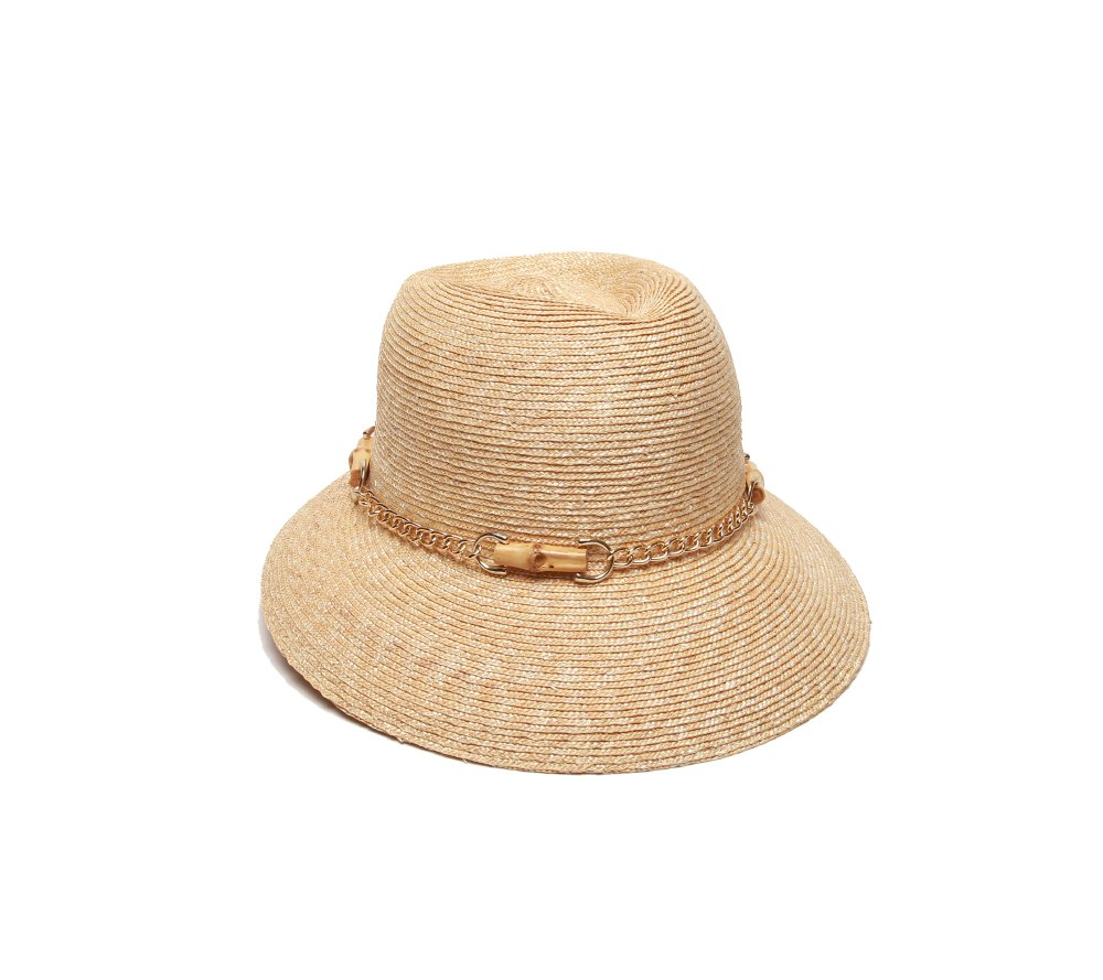 Gottex Women's Vivienne Fine Milan Straw Packable Sun Hat, Rated UPF 50+ for Max Sun Protection, Natural, One Size