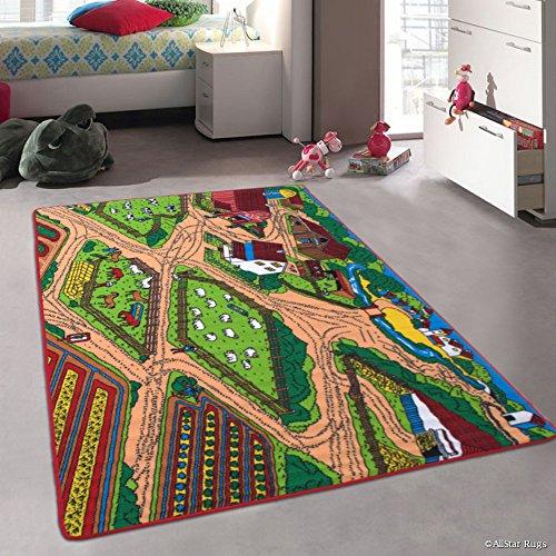 Allstar Kids / Baby Room Area Rug. Farm / Farmer Landscape. Bright Colorful Vibrant Colors (4