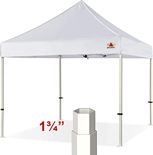 ABCCANOPY Professional 10 x10 Easy Pop-up Canopy Tent Commercial Instant Shelter with Wheeled Carry Bag, Bonus 4 Weight Bags White