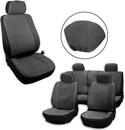 Gray Stretchy Universal Seat Cushion w//Headrest 100/% Breathable Automotive Accessories with Durable Washable Embossed Cloth for Most Cars OCPTY Car Seat Cover