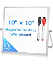 "Small Dry Erase Board for Desk 10"" X 10"", Arcobis Magnetic Double Sided Desktop White Board Easel Portable Tabletop Mini Whiteboard with Stand for Home Office Kitchen Bedroom"