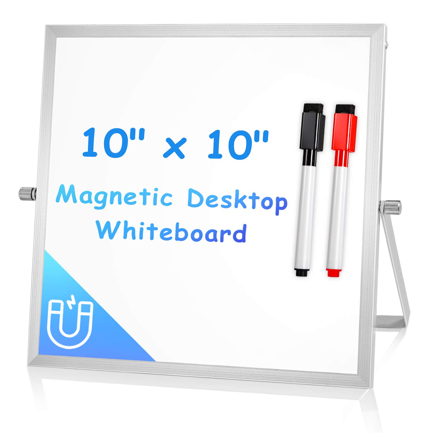 Small Dry Erase White Board for Desk 10'' X 10'', Arcobis Magnetic Double Sided Personal Desktop Tabletop Dry Erase Board Easel Board with Stand for Kids Home Office
