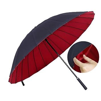 Personalidad creativa Automático Opendouble Capas Paño paraguas Fibra de carbono Mango largo Paraguas Refuerzo Protección solar