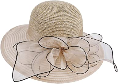 YiyiLai Femme Chapeau Panama Large Bord Plage El/égant