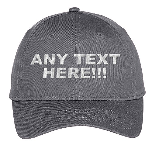 Personalized Text, Custom Ball Cap, Embroidered with Color Choices (Charcoal) ()