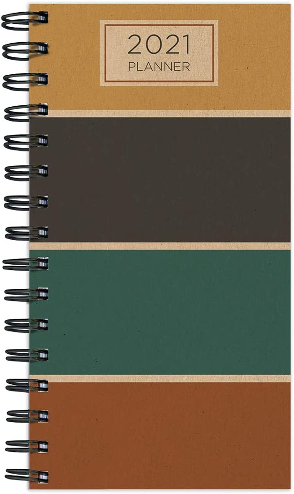 "TF PUBLISHING 2021 Earth Tones Small Weekly Monthly Year Spiral Pocket Planner - Appointment, Agenda, Note, Holiday Tracker - Home/Office Planning/Organization-Premium Thick Uncoated Paper 3.5""x6.5"""