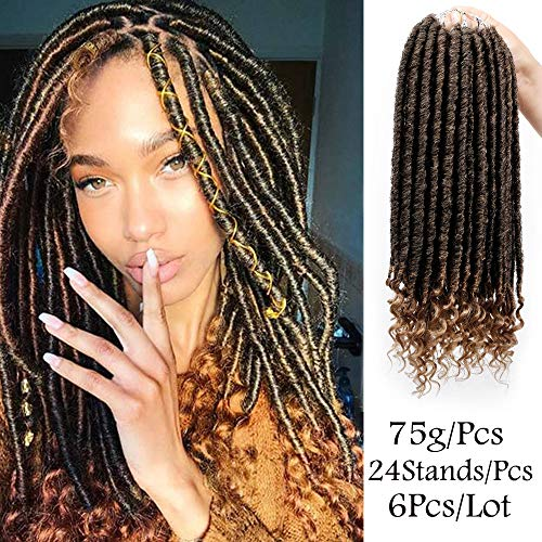 Glorious Spring (6Pcs/Lot Goddess Locs Crochet Hair Braids Synthetic Straight Faux Locs With Curly Ends Twist Braids Soft Hair Extension(24 Stands,16Inches,T1B-27))