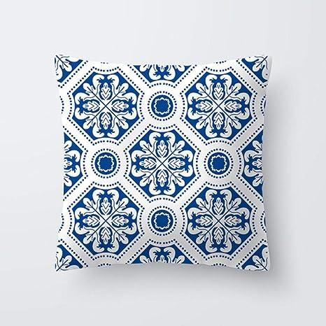 HUILIN Funda de Cojín Funda de Cojín Geométrico Azul ...