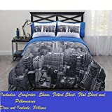 new york bed in a bag - CASA Photoreal New York City Bed-In-A-Bag Comforter Set, Full
