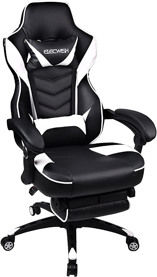 NEW LUXURY BLACK /& GREY LEATHER RACING SEAT OFFICE GAMING SWIVEL GAS LIFT CHAIR